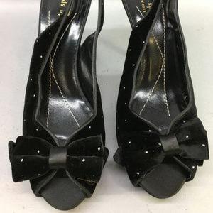 kate spade Giada Blk/Glitter Dot Velvet Heels
